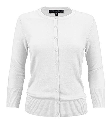 YEMAK Women's 3/4 Sleeve Crewneck Button Down Knit Cardigan Sweater CO079-WHT-2X White ()
