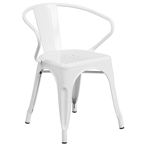 Plastic Patio Arm Chair - Flash Furniture Metal Chair with Arms, White