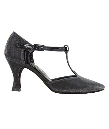 9400 Ritmo Latein Salsa Rumba Tango Damen Tanz Schuhe Glanz-Spinnstoff und Chromledersohle, Absatz 7 cm Farbe schwarz - Made in Italy! Schwarz