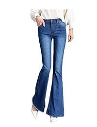 pipigo Pantalones de Jean clásicos con Campanas y Cintura Alta para Mujer