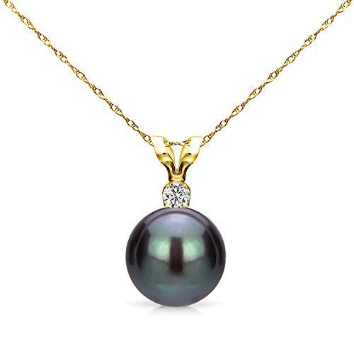 14K Yellow Gold 1/100 Ct Diamond & Black-Grey 7-7.5mm Freshwater Cultured Pearl Pendant Necklace (G-H, SI1-SI2), 18