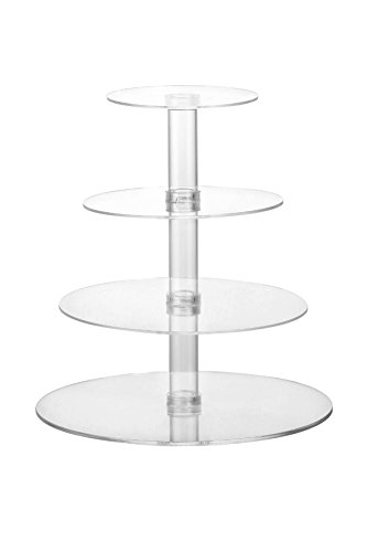 Acrylic Cupcake Stand - 4-Tier Party Dessert Tower For Cupcakes, Gourmet Cakes, Pastries, and Bread,Clear (Cupcake Stands For 150 Cupcakes compare prices)