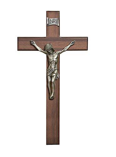 CB Catholic W10P15 15 in. Walnut Crucifix44; Pewter by CB Catholic