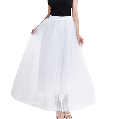 AopnHQ Women's Fashion Mesh Pure Color Pettiskirt Skirt Long Section Princess Mesh Skirt -