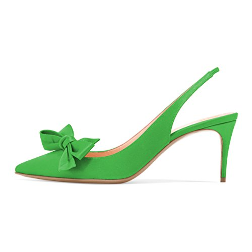 Xyd Donna Moda Scarpe A Punta Slingback Tacco Alto Slip On Scarpe Eleganti Con Fiocchi Verde-satin