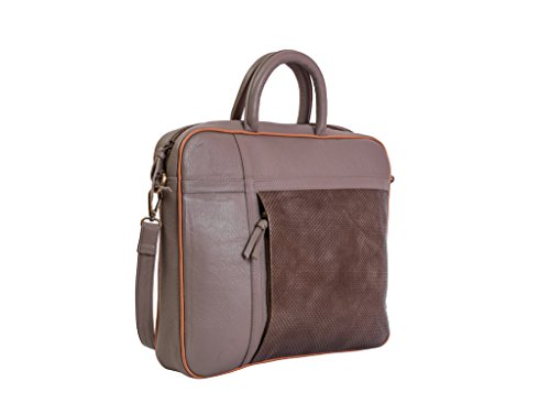 Paint Genuine Leather Dark Grey Unisex Laptop Bag