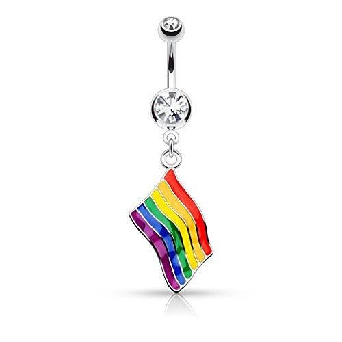 Inspiration Dezigns 14GA Flag Dangle Double Jeweled 316L Surgical Steel Belly Button Rings (Rainbow Flag)