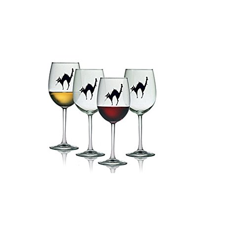 Halloween Black Cat 19-oz Wine Glasses (Set of 4) -