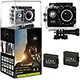 HLS Action Cam 16MP 4K WiFi Sports Camera 2.0 Inch LCD with Sony Sensor 170° Wide Angle 30M Waterproof Diving Including 2 Rechargeable Batteries /18 Accessories Kit