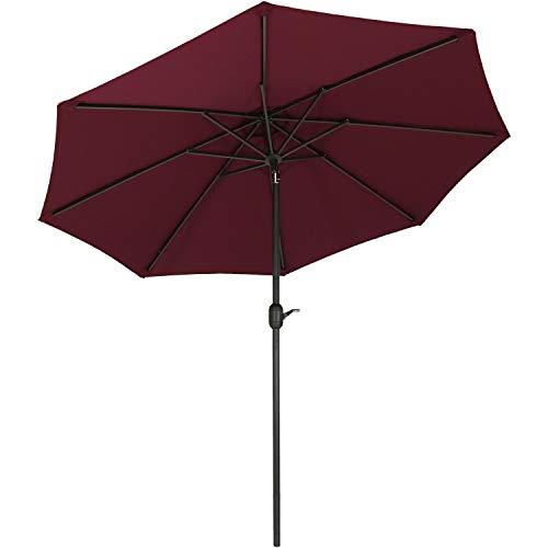 - Sunnydaze 9-Foot Outdoor Patio Umbrella with Fade Resistant Umbrella Canopy, Auto Tilt & Crank, Rust Resistant Aluminum, Burgundy