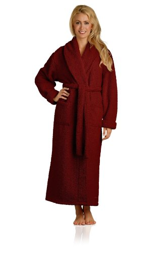 Plush Microfiber Robe - Soft, Warm, and Lightweight - Full Length, Cranberry, Medium