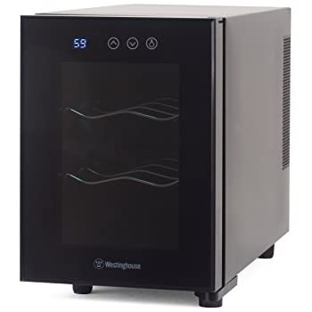 Westinghouse WWT060TB Thermal Electric 6 Bottle Wine Cellar with Touch  Panel Adjustable Thermostat and Digital Read