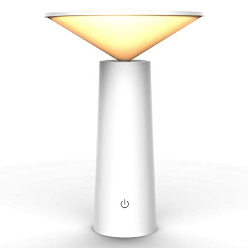 (Honsky Mini LED Desk Lamp: Dimmable, USB Chargeable, Battery Operated, Touch Control, Rotating, 3-Modes, Table Light, Nightstand Lamp for Bedroom Dorm Office Reading, White)