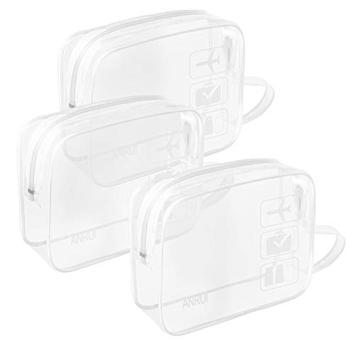 - (3 Pack) TSA-Approved Clear Travel Toiletry Bag With Handle Strap, ANRUI Airline Kit 3-1-1 Clear Liquids Toiletries & Cosmetics Organizer Carry-On Luggage for Women and Men (White)
