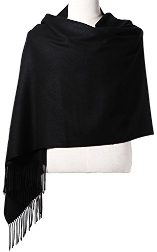 Womens Pashmina Shawl Wrap Scarf - Ohayomi Solid Color Cashmere Stole Extra Large 78'x28' (Black)