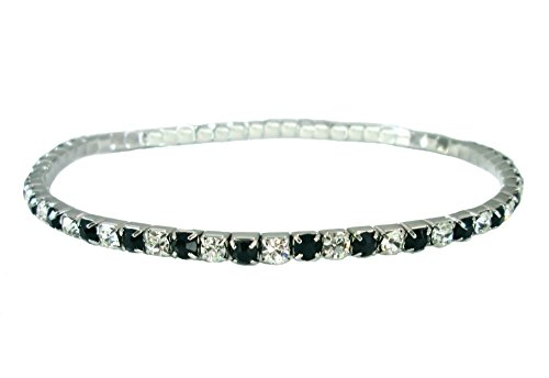 Sparkly Jet Black & Clear Crystal Stretch Anklet ~, used for sale  Delivered anywhere in USA
