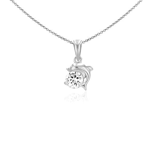 Sea of Ice Sterling Silver 6mm CZ Happy Dolphin Pendant Necklace for Women Girl, 18 Inch