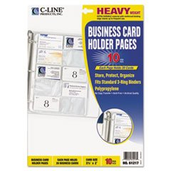 C-Line 61217 Business Card Binder Pages, Holds 20 Cards, 8 1/8 x 11 1/4, Clear, 10/Pack