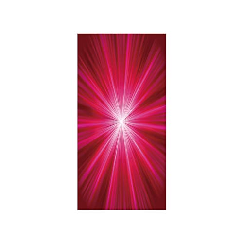 3D Decorative Film Privacy Window Film No Glue,Hot Pink,Abstract Explosion Image Lively Burst Rays Sunbeams Inspired Futuristic Decorative,Red Hot Pink White,for Home&Office