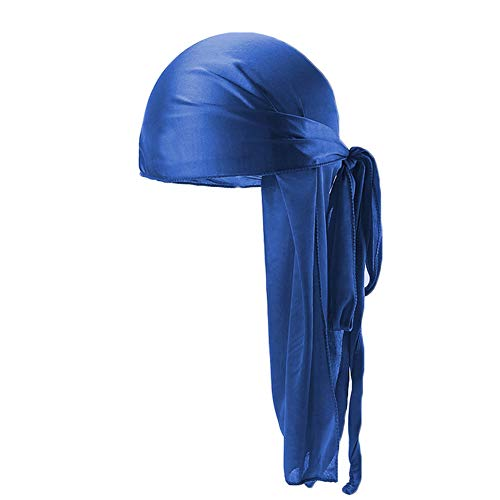 Satin Pirate Bandana - Unisex Deluxe Silky Durag Extra Long-Tail Headwraps Pirate Cap 360 Waves Du-RAG (Plain Royal Blue 1pc)