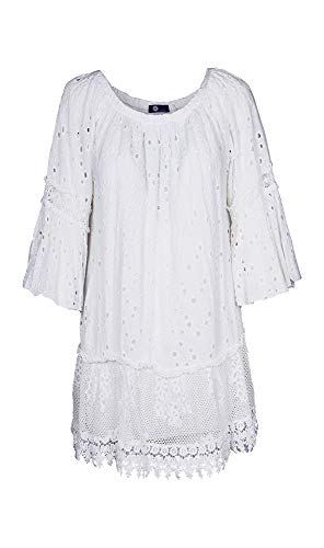 M Made in Italy - Women's Embroidered Eyelet Dress (S) White ()
