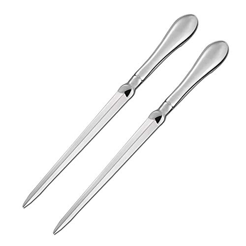- 2 Pack Letter Opener Metal Envelope Opener Knife, Paul Revere Paper Cutting Knife, Nickel Plated, 9 Inches, Silvery