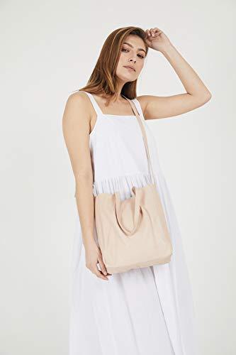 Womens Soft Nude Leather Designer Handbags Tote Purses Shoulder Slouchy Bucket -