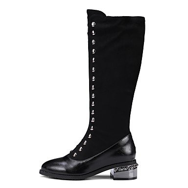 Heel Casual 7 Women'S Flocking Dress 5 5 US6 Winter Rivet 5 Black For UK4 Fashion CN37 Shoes EU37 RTRY Boots Flat Boots 84PaggA