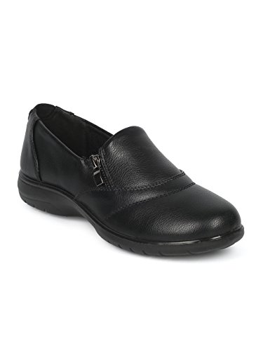 Alrisco Women Leatherette Round Toe Elevated Heel Work Loafer HD92 - Black Leatherette (Size: 7.0) by Alrisco