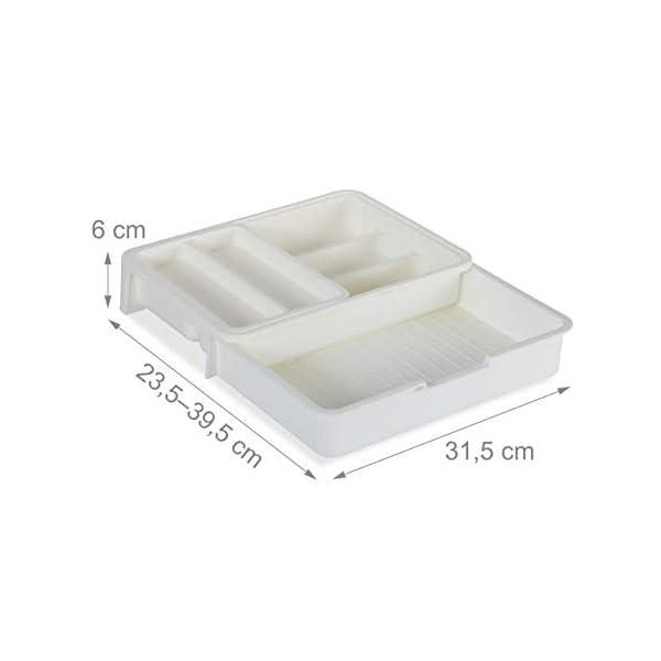 31LOO78uarL Relaxdays Besteckkasten, ausziehbar, 7 Fächer, für Besteck & Küchenutensilien, Kunststoff, HBT 6x23,5x31,5 cm, weiß