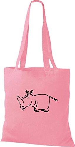 De Rinoceronte Tela Rosa Bolsa Animales Shirtstown aAqBw5B