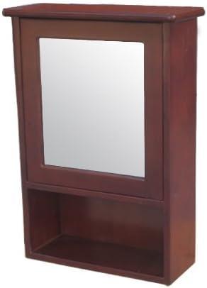 ミラーキャビネット(右開口) 木製 洗面収納 ダークブラウン [幅44×高62cm] INK-0702006H