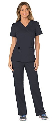 Cherokee Workwear Revolution Women's Medical Uniforms Scrubs Set Bundle - WW610 Mock Wrap Scrub Top & WW110 Pull On Scrub Pants & MS Badge Reel (Pewter - Small/Small Tall)