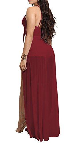 Aecibzo Culture Sans Manches Femmes Haut Fractionnement Robe De Plage Maxi Salopette Barboteuses Vin Rouge
