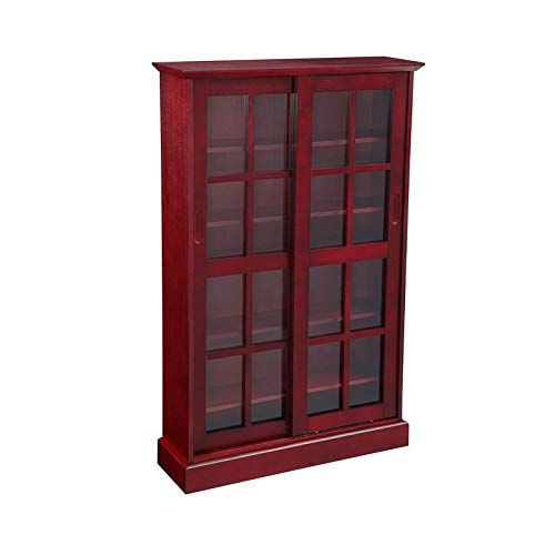 NBLiner Glass Sliding Door Bookcase Media Cabinet, Cherry -