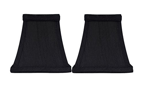 - Urbanest Set of 2 Square 4-inch Softback Bell Chandelier Lamp Shade, Black, Faux Silk, Clip On