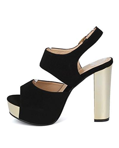 Alrisco Dames Slingback Blokhak Sandaal - Peep Toe Metallic Platform Hak - Metalen Dikke Hak Sandaal - Hd28 Door Dbdk Collectie Zwart Kunstleer
