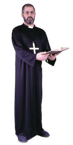 [FunWorld Adult Priest, Black, One Size Costume] (Priest Halloween Costume Deluxe)
