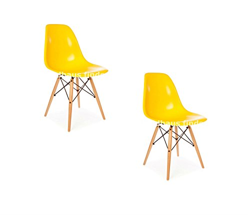 Cheap Set of 2 Mid Century Modern Eames Style DSW Yellow Side Dining Chair with Dowel Wood & Metal Base