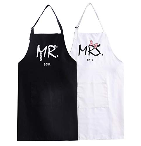 UJoowalk Mr Mrs Bridal Shower Couple Aprons Anniversary Wedding Gifts Newlywed Engagement Cooking Set Present (Soul Mate)