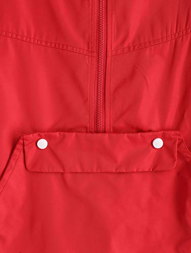Coulisse Cappotto Con Blocco Vento Cappuccio Manica Zip Di Outwear A Zaful Giacca Colore Rossa Donne Lungo Giacca x144wHP