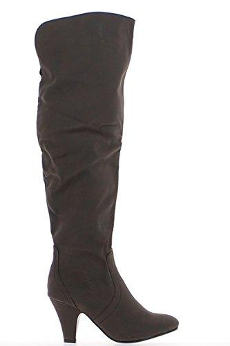 7,5 cm Absatz braun hohe Damen Stiefel