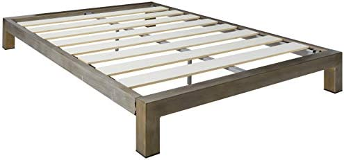 In Style Furnishings Aura Modern Metal Low Profile Thick Slats Support Platform Bed Frame – Full Size, Gold