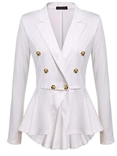 Bavero Bavero Business Colore Donna Puro Manica Manica Manica Giaccone Breasted Coat Bianca Blazer Lunga Ragazza Slim Leisure Autunno Double Irregular Fit Suit OCqHqBw