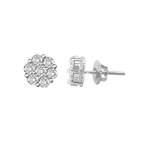 10k Gold Round Natural Diamond Flower Cluster Stud Earrings (1/10 cttw, I-J Color, I3 Clarity) (white-gold) ()
