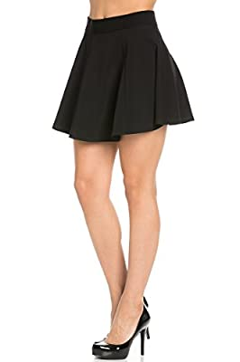 My Yuccie Women's Casual Solid Stretchy High Waist Flared A-line Skater Mini Skirt