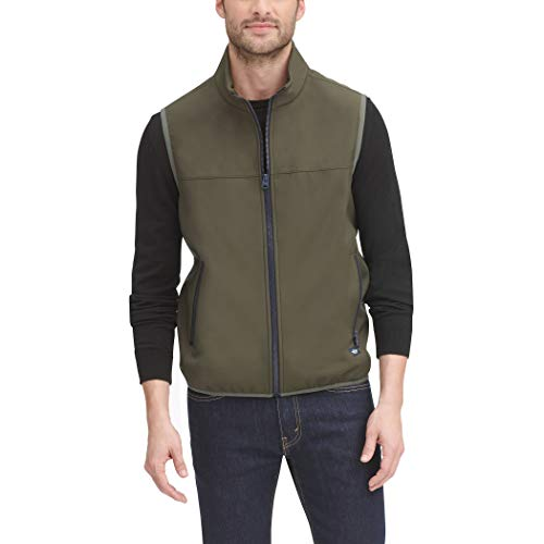 Dockers Men's The Jacob Performance Soft Shell Vest, Olive, Medium