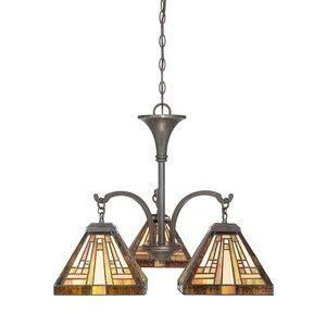 (Quoizel TFST5103VB Stephen Tiffany Mini Chandelier, 3-Light, 300 Watt, Vintage Bronze (20