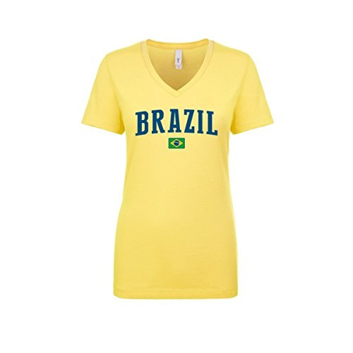 Female Yellow T-shirt (nobrand Brazil Women's Flag National Pride Woman V-Neck Tee T-Shirt (Women Yellow S))