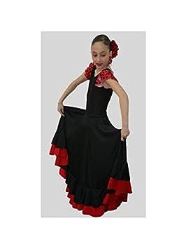 DISBACANAL Falda andaluza niña 2 Volantes - Negro Rojo, 12 años ...